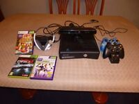 Xbox 360 Kinect with Headset with mic 3 games and 2 controllers and charging cradle for controllers