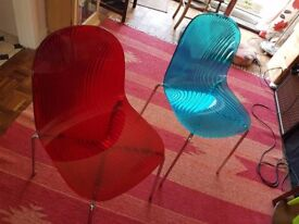 Two John Lewis coloured plastic dining chairs