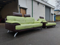 Green/brown DFS leather sofas DELIVERY AVAILABLE