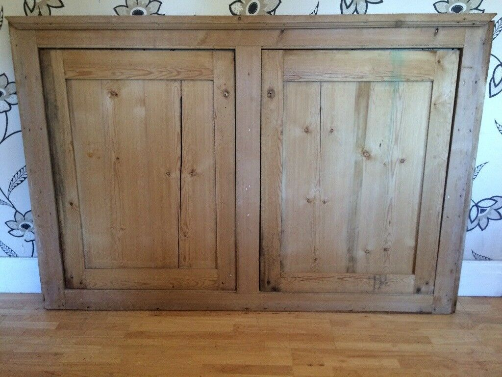 VICTORIAN PINE CUPBOARD DOORS 3 SHELVES AND FRAME