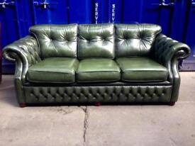 🎉SALE🎉 IMMACULATE Thomas Lloyd genuine antique green chesterfield 3 seater sofa Settee - deliver