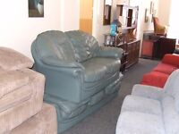 3 and 2 seated green leather sofas