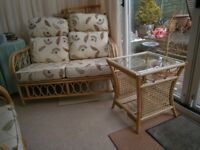 Conservatory furniture - 1 double Seater, 2 Arm chairs and table. Like New. Modern fabric