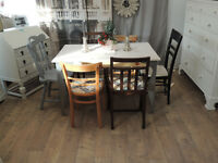 Unique industrial style shabby chic dining table with 6 chairs