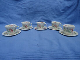 5 Royal Doulton Stratford 6196 pattern coffee cups and saucers