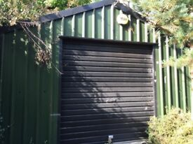 Shed, 6m long, 4m wide, green pvc coated steel sheeting,