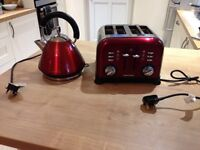 Red Morphy Richards Kettle and 4 slice toaster