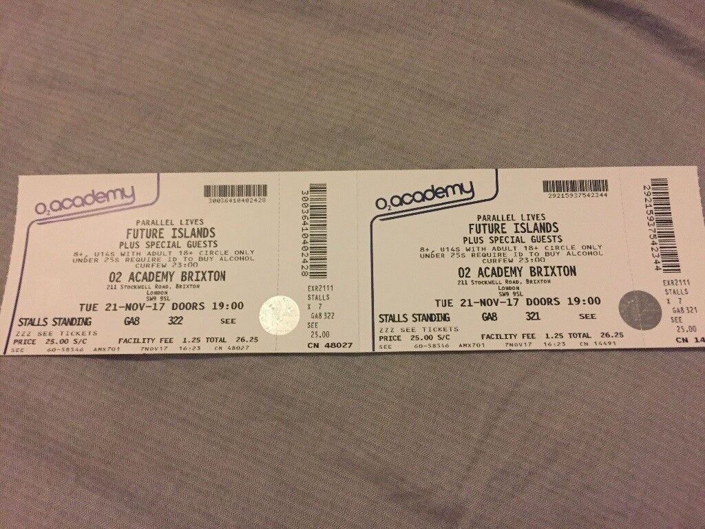 Future Islands x2 tickets O2 Brixton Tues 21st Nov
