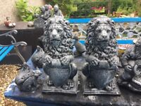 Set of stone lion garden ornaments 17 ins high