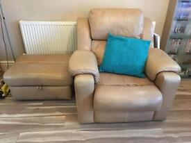2 Cream / Beige Leather armchairs and footrest storage