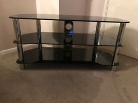 """Universal Black Glass and Chrome Legs TV Stand For up to 50"""" TVs"""