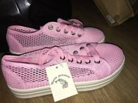 Fishnet Effect Pink Trainers