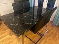 Black Marble Modern Glass Dining Table for 4 people
