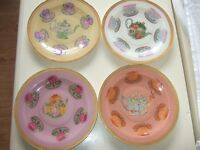 VERY UNUSUAL SET OF VERY DECORATIVE 4 VINTAGE TEA PLATES ~ PRICE IS FOR WHOLE SET