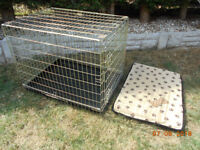 Folding Metal Dog Cage Puppy Transport Crate Pet Carrier & cushion