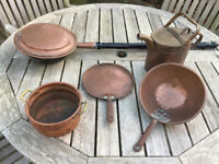 Copper pans and warming pan and watering can.