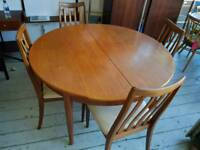 1960s g plan dining table and chairs