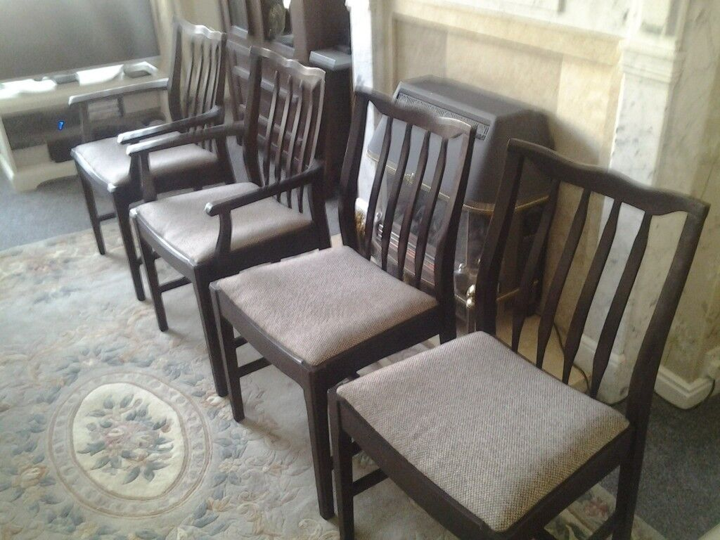 2 Carver dining chairs and 2 ordinary matching dining chairs