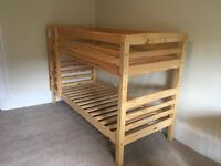 Never been used pine bunkbed frame. Can be split into two single beds. Awesome condition.