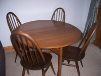 Ercol drop leaf dining table and chairs £230