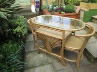 Top Quality Cane Bistro set table and two chairs