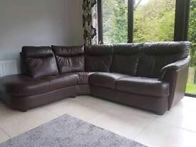 Brown leather corner sofa, swivel armchair and pouffe