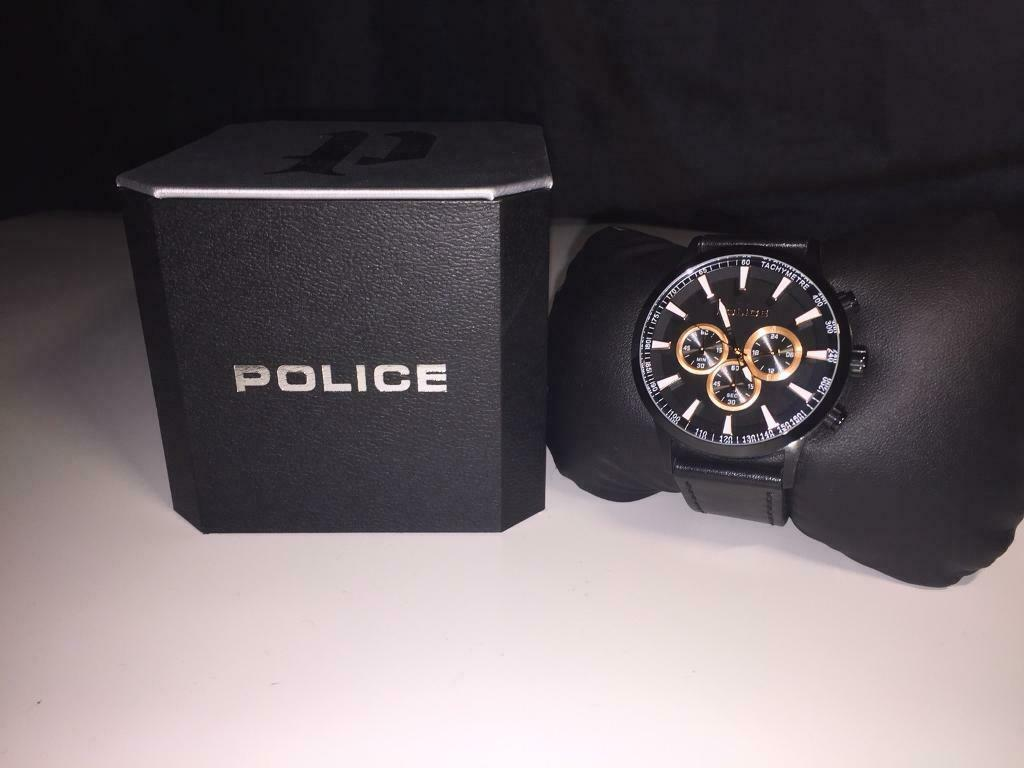 Men S Police Black Leather Chronograph Watch In Sparkhill West Midlands Gumtree
