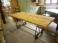 Table (New) with a Reclaimed wood top and Steel ornate frame