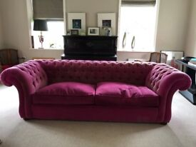 Two Extra Large Hot pink Conran Shop Chesterfield sofas - Price is for EACH Sofa