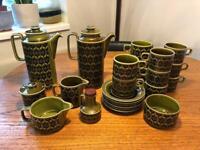 Hornsea green Heirloom crockery - coffee pots, teacups, saucers, jugs