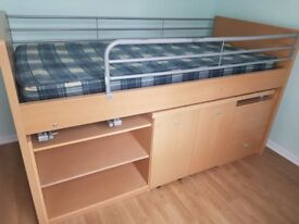 single bed with desk under and storagewith out mattress