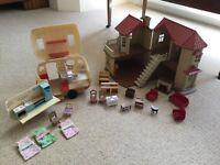 Sylvanian House, Caravan, Figures and Furniture