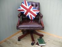 Stunning Leather Brown Chesterfield Captains Chair