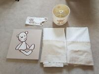NEXT BLACKOUT BABY CURTAINS WITH TIEBACK AND MATCHING LIGHT SHADE PLUS TEDDY PICTURE