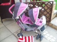 young girls dolls pram graco twin seat stroller in good used condition with rain cover & blanket