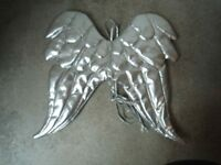 Pair of custom made quilted silver leather look Angel Wings – UNIQUE