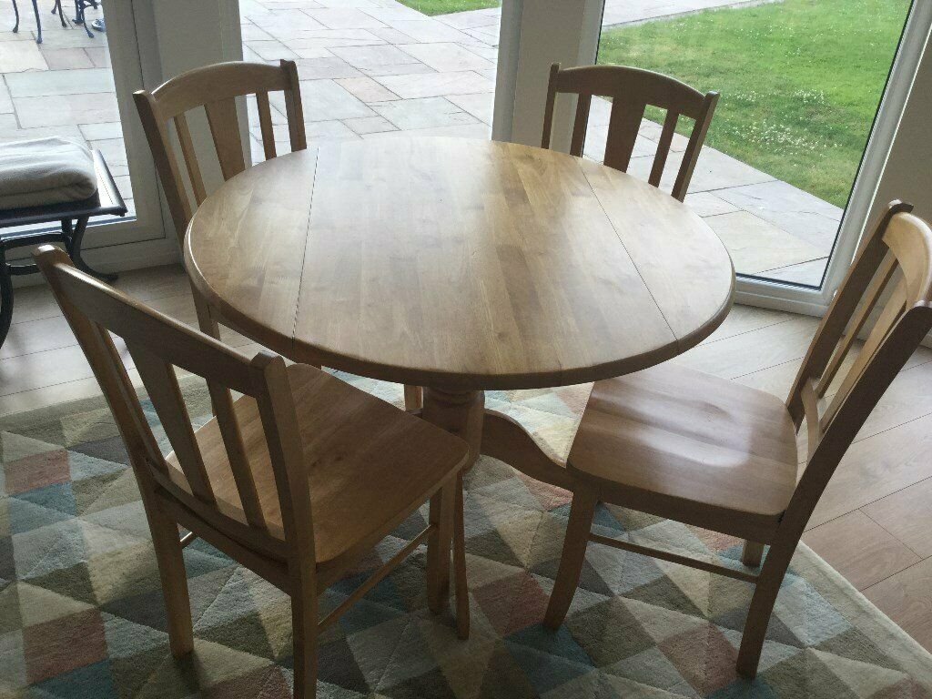 Brilliant Round Kitchen Table With Drop Leafs And 4 Chairs In Chestfield Kent Gumtree Interior Design Ideas Philsoteloinfo