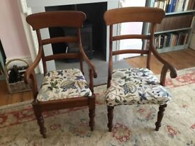 Pair of Victorian carver chairs upholstered in crewel