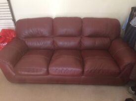 Maroon genuine leather sofa