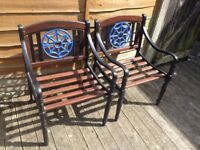 WR vintage cast iron garden chairs fully restored to the highest standard
