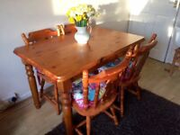 Solid pine dining table and 4x chairs