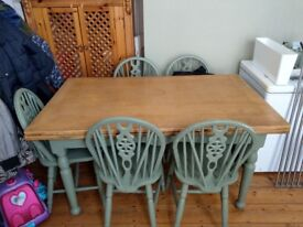 Dining table and 6 chairs , good solid furniture. Table extends. Collection only.