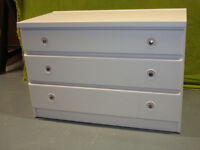 CHEST OF DRAWERS - WOODEN 3 DRAWER- PALE GREY