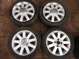 """FORD FIESTA ZETEC ST, PUMA, KA 15"""" inch ALLOY WHEELS WITH TYRES"""