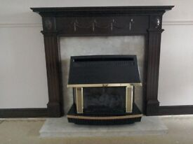 Fire surround, hearth and gas fire.