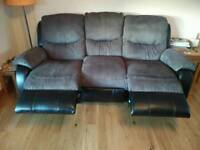 3 and 2 seater Reid Furniture fabric/leather recliner sofas