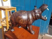 Early 20th Century Leather Hippo Footstool/Ornament. Antique/Vintage/Retro.