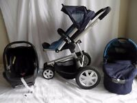 Quinny buzz 3 Midnight BlueTravel System Pushchair ,Carrycot,Maxi Cosi Cabriofix Car Seat