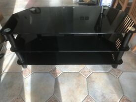 Black glass Tv cabinet tempered glass