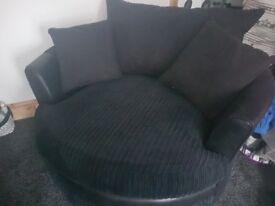 Swivel Armchair/Sofa Cuddle Chair Cord Leather